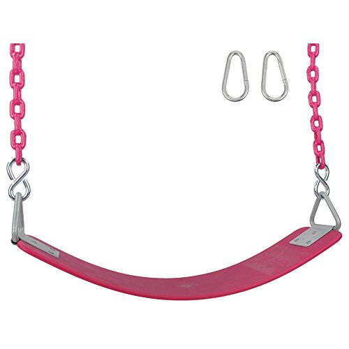 Swing Set Stuff Inc. Swing Set Stuff Commercial Polymer Belt Seat 8.5 Ft. Coated Chain and SSS Logo Sticker, Pink