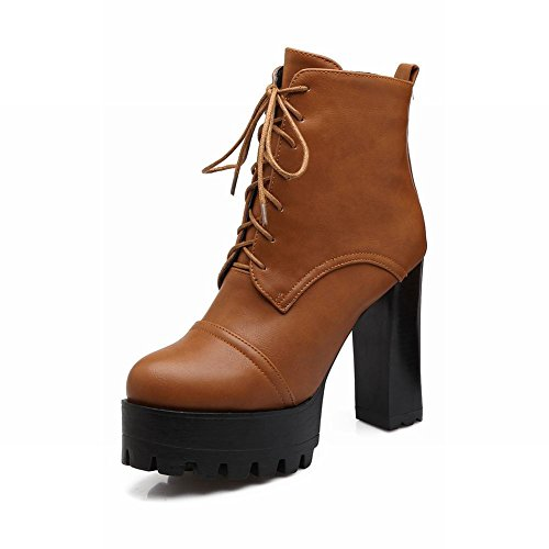 Carolbar Vrouwen Lace Up Vintage Retro Britse Stijl Platform Hoge Hak Korte Laarzen Geel Bruin