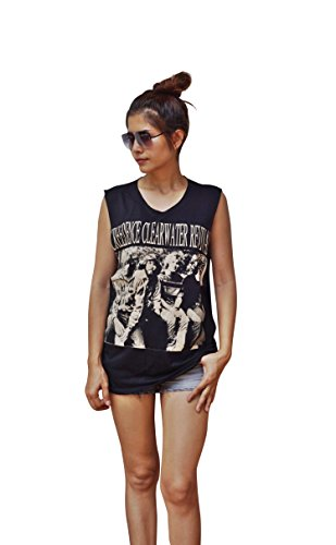 Womens Creedence Clearwater Revival Dropped Arm Vest Tank-Top Singlet Sleeveless T-Shirt Ladies S/M Black