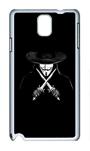 Ultra Thin Bumper Case Hard White Cover for Samsung Galaxy Note 3 V For Vendetta Man With Knifes Ideas Cover Slim Fit Drop Protection for Samsung Galaxy Note 3 Note III N9000
