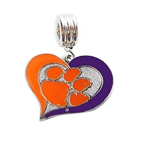 Heavens Jewelry CLEMSON UNIVERSITY TIGERS HEART CHARM SLIDER PENDANT FOR YOUR NECKLACE EUROPEAN CHARM BRACELET (Fits Most Name Brands) DIY PROJECTS ETC (Heart Necklace Clemson)