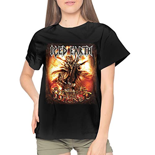 Iced Earth Women's Cotton T-Shirt Casual Short Sleeve Top M Black -