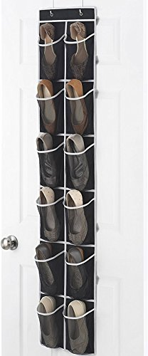 "Zober Narrow Over the Door Shoe Organizer with 12 Mesh Pockets, Over the Door Organizer Great for Accessories, Toiletries, Laundry Items, Black with White Trim. 12"" x 57 ½"""