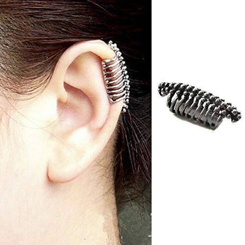 - 1pc Punk Ear Clip Skull Vertebrae Cuff Wrap Earrings No piercing-Clip Jewelry VP