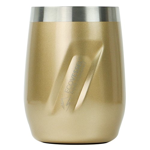 - EcoVessel Port Vacuum Insulated Stainless Steel Wine Glass/Whiskey Tumbler with Lid, Gold Dust, 10 oz