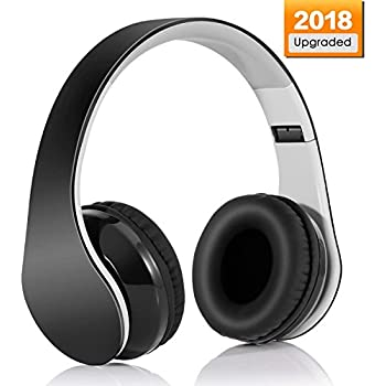 Wireless headset V4.1 Bluetooth Foldable Hi-Fi Stereo Over-Ear Headphone with 3.5mm Audio Jack MIC for Smart Phones & Tablets - Black