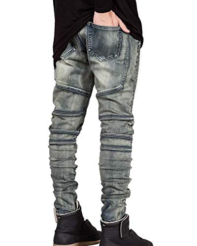 Uomo Abiti Da Taglie Vintage Bronze Comode Pieghe Casual Pantaloni Skinny Lunghi Jeans Denim Moda Fit A Slim Elasticizzati 4x5Owaq0q