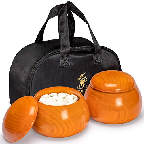 Go Convex Game Stones - Yellow Mountain Imports - Double Convex Korean Glass Paduk Go Stones with Jujube Wood Gosu Go Game Bowls - Securing Straps for Bowls and Carrying Bag Included - Size 33 (9.2mm) Stones