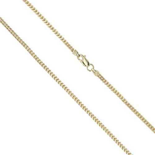 14k Yellow Gold Solid Franco Wheat Rope Chain 1.2mm Necklace 24