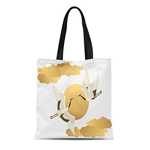 Semtomn Canvas Tote Bag Shoulder Bags Hokkaido Red Bird Crane and Sun Japanese Crowned Sky Women's Handle Shoulder Tote Shopper Handbag