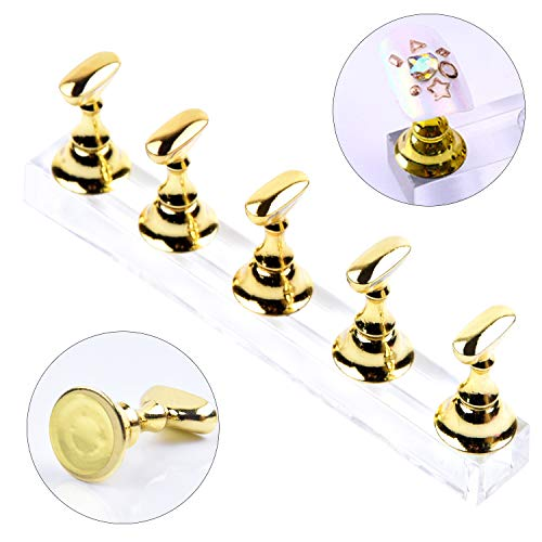 Ycyan 1 Set Nail Tips Practice Display Stand Magnetic Stuck Crystal Holder for False Nails Tips