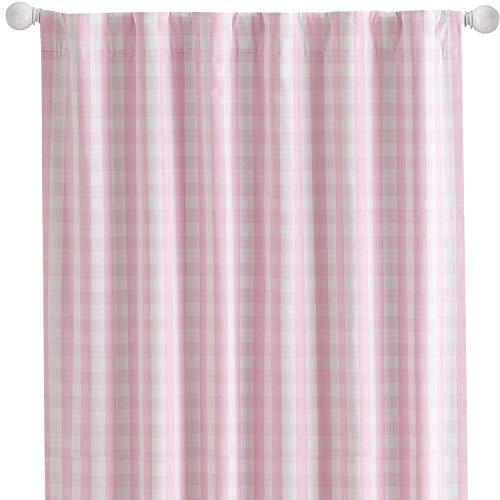 lovemyfabric Gingham/Checkered 100% Polyester Curtain Window Treatment/Decor Panel-Pink White (2, 56