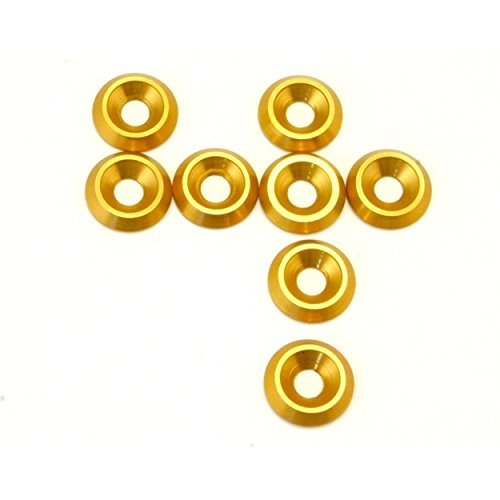 Hot Racing CW34904 Gold Aluminum 4mm Countersunk Washer (8)