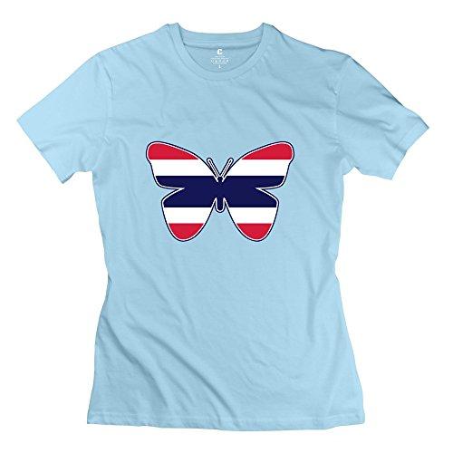 WYMY Women's T-shirt Butterfly Flag Size XS SkyBlue