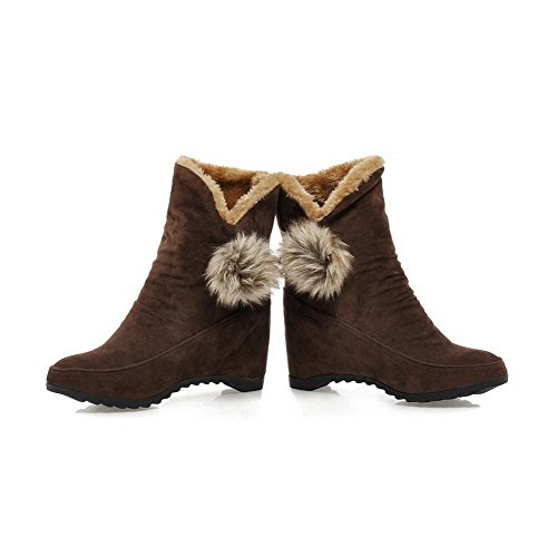 Allhqfashion Women's High-Heels Solid Round Closed Toe Frosted Pull-on Boots Brown aqZaHNs