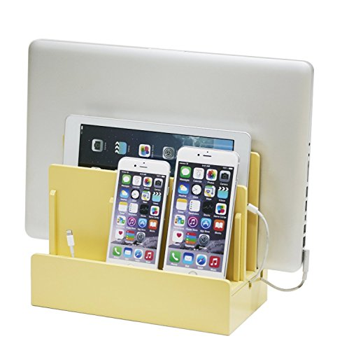 G.U.S. Multi-Device Charging Station Dock & Organizer - Multiple Finishes Available. For Laptops, Tablets, and Phones - Strong Build, High Gloss Harvest Yellow