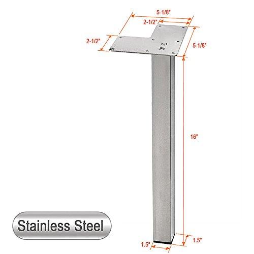 Stainless Steel Metal Sofa Legs, Furniture Legs, Square Tube, Straight Design - Set of 4 NEW (16''H)