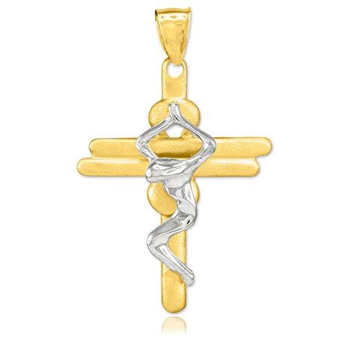 10 ct 471/1000 Deux-Tons Or Moderne-Crucifix-Croix- Pendentif