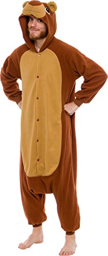Silver Lilly Unisex Adult Pajamas - Plush One Piece Cosplay Teddy Bear Animal Costume (Brown, Small)]()