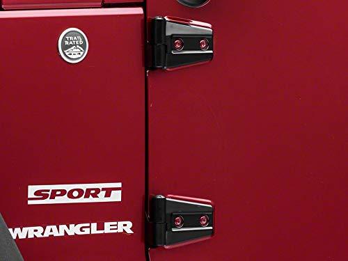 Redrock 4x4 Door Hinge Covers - Gloss Black - for Jeep Wrangler JK 2 Door 2007-2018