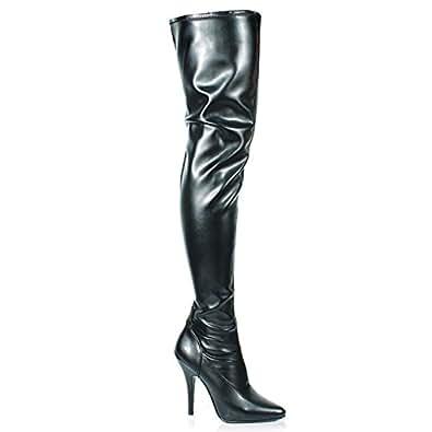 Pleaser Women's Seduce-3000 Boot, Blk Str Faux Leather, Size - 11
