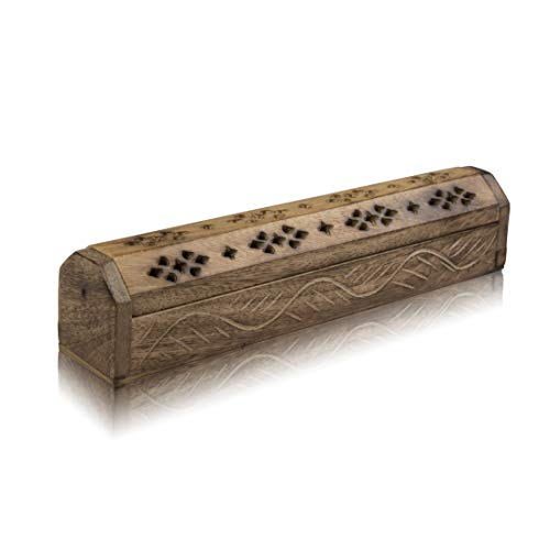 Wooden Incense Stick & Cone Burner Holder Coffin With Storage Compartment Organic Eco Friendly Ash Catcher Agarbatti Holder Rustic Style For Meditation Yoga Aromatherapy Home Fragrance Products]()