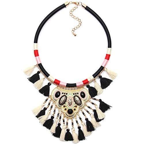 Bohemian Necklaces & Pendants Multicolor Statement Flower Choker Necklace Tribal Ethnic Boho Jewelry Black