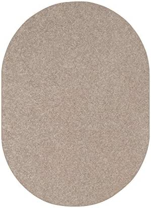 Ambiant Pet Friendly Solid Color Area Rug Beige -8 x10 Oval