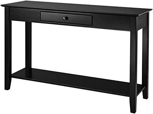 Muse Home Wood Console Table with Drawer and Shelf – Dark Mahogany
