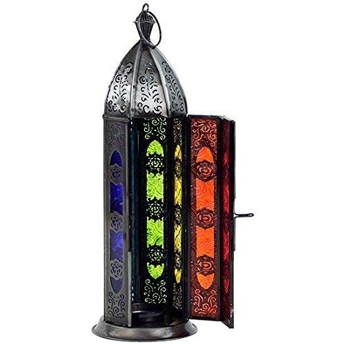 30cm seven chakras oriental lantern candle holder standing or hanging coloured glass and iron Pho