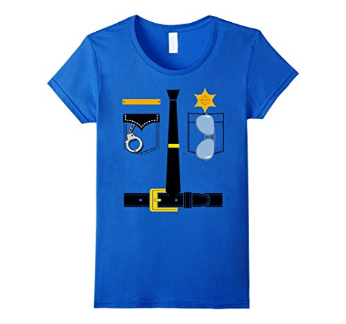 Womens Police Uniform Costume Halloween Kids T-Shirt Small Royal (Womens Police Shirt Adult Costumes)