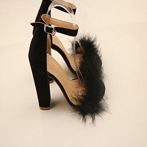 Las Mujeres Grandes Más el Tamaño 42 42 43 Zapatos de Tacón Alto con Hebilla de Conejo Sandalias de Tacón Alto UN