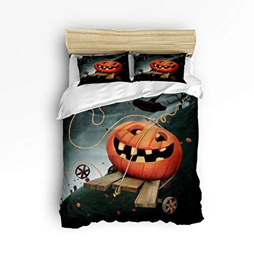 YEHO Art Gallery Soft 3 Piece Duvet Cover Set (1 Comforter Cover with 2 Pillow Cases) for Girls Boys,Cute Pumpkin Happy Halloween Christmas Bedding Sets,Full Size