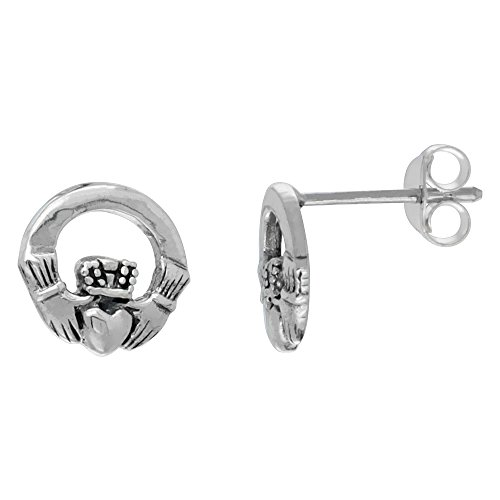 Earrings Celtic Claddagh (Sterling Silver Small Celtic Claddagh Stud Earrings, 3/8 inch wide)