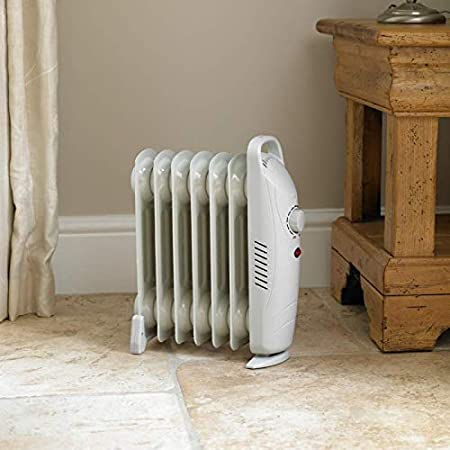 58d455afb04 HomeZone® 700w Small White 7 Fin Oil Filled Radiator Heater Personal Space  Warmers Adjustable Thermostats