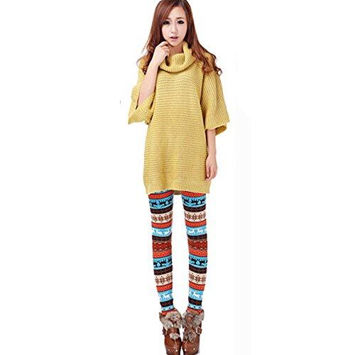 Cithy Christmas Fashion Women Lady Elasticity Skinny Printed Stretchy Pants Leggings (Free Size, Orange)