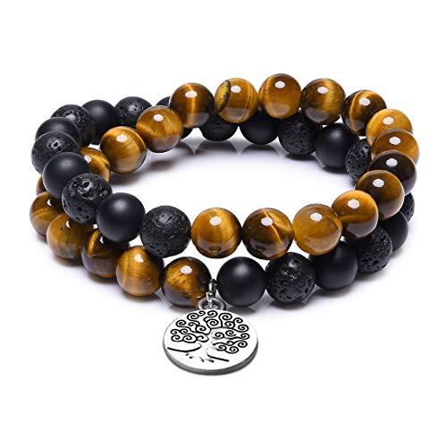 CAT EYE JEWELS Premium Mala Beads Wrap Bracelets 8MM Semi-Precious Natural Stone Beads Bracelet TE005