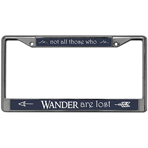 (GND NOT All WHO Wander are Lost License Plate Frame,Christian Quotes Stainless Steel License Plate Frame Tag Holder with Anti-Theft Screw Caps)