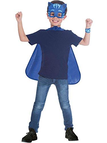 Boys Girls Childrens Official PJ Masks Owlette Gekko Catboy Superhero TV Character Fancy Dress Costume Outfit Kits Cape Mask Wrist Cuff 4-8 Years (Catboy) ()