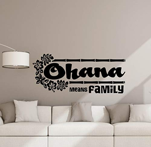 (Ohana Means Family Wall Decal Sign Lilo and Stitch Quote Walt Disney Poster Nursery Vinyl Sticker Kids Wall Decor Playroom Wall - Made in USA-Fast)