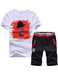 d0c431c1fc520 Mens 2 Piece Outfits Sportswear Cartoon Print Short Sleeve Shirt and Shorts  Set Joggers Tracksuit