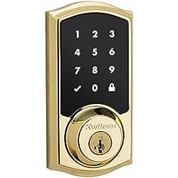 Kwikset 99160-007 SmartCode ZigBee Touchscreen Smart Lock works with Echo Plus & Alexa, featuring SmartKey, Lifetime Polished Brass