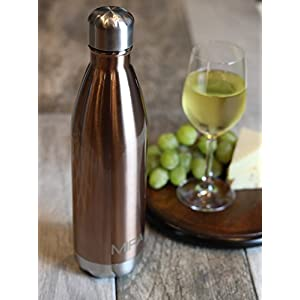 MIRA Vacuum Insulated Travel Water Bottle | Leak-proof Double Walled Stainless Steel Cola Shape Sports Water Bottle | No Sweating, Keeps Your Drink Hot & Cold | 25 Oz (750 ml) | Rose Gold