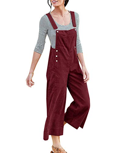 Chellysun Womens Corduroy Bib Pants Long Romper High Waist Wide Leg Casual Solid Button Pockets Jumpsuits