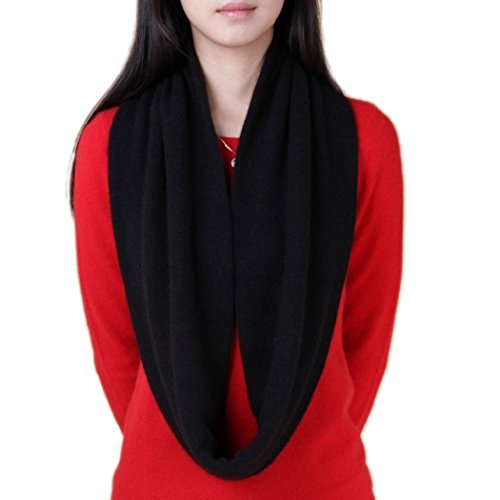 Novawo Women's Men's Super Soft Cashmere Solid Infinity Scarf (Black)