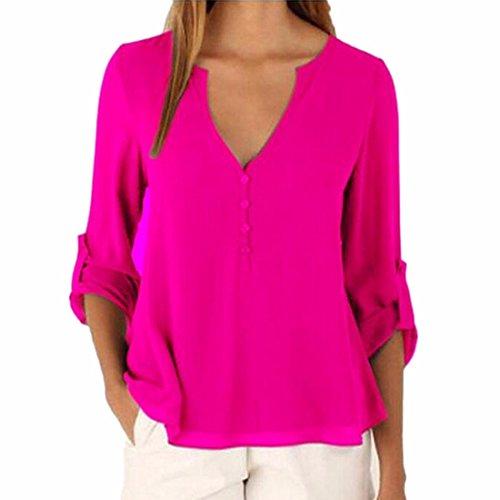 Entrega gratis Las mujeres de cuello en V manga larga botón color solido Plus Size tops ocio button Cuff Short gasa blusa camisa Rose Red