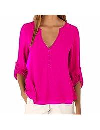 Ai.Moichien Women Casual Plus Size V Neck 3/4 Sleeve Button Down Chiffon Blouse