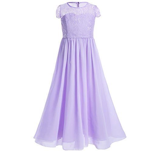 iiniim Girl's Chiffon Lace Pageant Party Wedding Bridesmaid Flower Girl Dress Lavender (Satin Lace Dress)