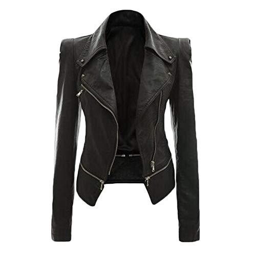 Faux Pu Zippée Cuir Femme Veste Manteau Noire Zhuikuna En Veste Casual Revers g78wgv0q