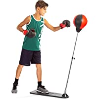 Tech Tools Boxing Ball Set with Punching Ball, Boxing Gloves, Hand Pump & Adjustable Height Stand - Strong Durable Spring Withstands Tough Hits for Stress Relief & Fitness